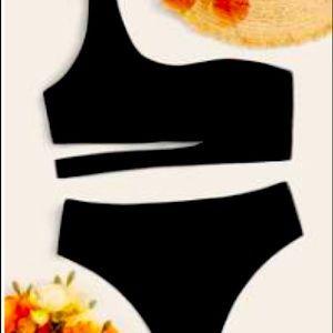 Shein black one strap bikini.